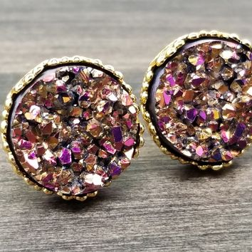 Magenta Gold faux druzy in Crown stud earrings (you pick setting tone)