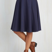 Vintage Inspired Long A-line Just This Sway Skirt in Navy