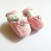 Newborn Knit Baby Booties, Baby Ballet Slippers, Mary Jane Booties