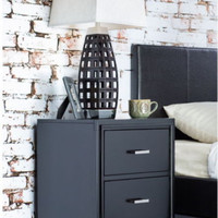 Two-Drawer Nightstand Stylish Tapered Legs Espresso Finish Bedroom Furniture New