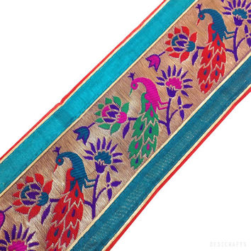 Raw Silk Border - Teal Red and Hot Pink Jamdani / Banarasi Sari / Trim - Peacock Pattern Jamdani Border