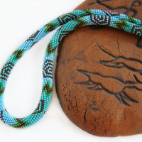 Cave paintings Bead crochet necklace Crochet bead rope Colorful Necklace Multicolored necklace Unique women gift Green Turquoise Blue Copper