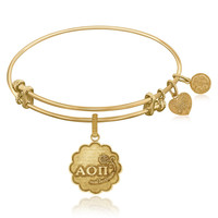 Expandable Bangle in Yellow Tone Brass with Alpha Omicron Pi Charm Symbol