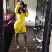 BKLD Fitness Casual Biker Playsuit Bodysuit Long Sleeve Neon Rompers Womens Jumpsuit Shorts Summer 2019 Bodycon Playsuits S-2XL