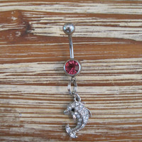 Belly Button Ring - Body Jewelry - Silver Rhinestone Dolphin with Pink Gem Stone Belly Button Ring