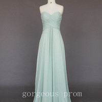 Gracefull Light Green A-line Sweetheart Sweep Train Prom Dresses from New Dresses