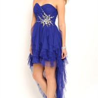Strapless High Low Prom Dress with Stone Spray Waist