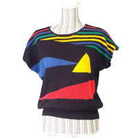 80s Knit Batwing Cap Sleeve Sweater Pullover Boxy Top Vintage Geometric Retro Slouchy Blouse Graphic Cos Cob Black Colorful Shapes Short 90s