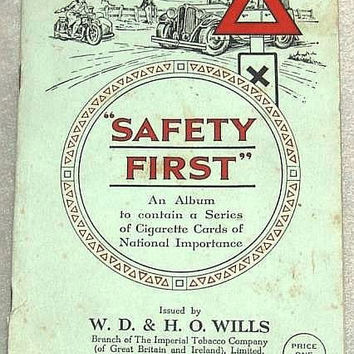 Safety First Full Set of 50 Cigarette Cards in Original Album by W. D. & H. O. Wills Issued in 1934 (ref: 3190)
