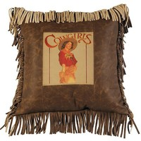 Butte Leather Cowgirl Pillow with Fringe Details
