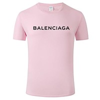 Balenciaga Tide brand men and women breathable round neck half sleeve T-shirt Pink