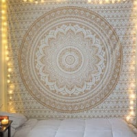 "Jaipur Handloom Exclusive ""Twin Golden Ombre Tapestry "" Ombre Bedding, Mandala Tapestry, Multi Color Indian Mandala Wall Art Hippie Wall Hanging Bohemian Bedspread"