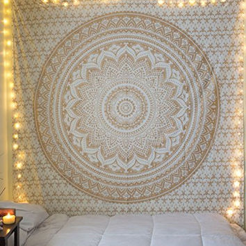 """Jaipur Handloom Exclusive """"Twin Golden Ombre Tapestry """" Ombre Bedding, Mandala Tapestry, Multi Color Indian Mandala Wall Art Hippie Wall Hanging Bohemian Bedspread"""