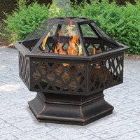 UniFlame Hex Shaped Lattice Fire Pit | www.hayneedle.com