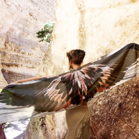 RAVEN • Wing Scarf Silk Bird Wing Shawl • Handmade Chic Feather Scarf Costume Wings • Handmade Gift For Her • Digital Print Silk Art - Poe