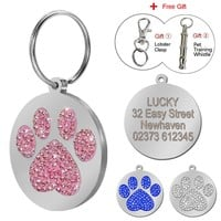 Rhinestong Paw Print Dog ID Tags Personalized Bling Dogs Collar Tag Custom Cat Kitty Tag Free Engraving With Free Gift
