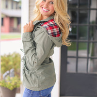 Plaid Hooded Utility Jacket - Olive