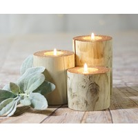 Log candle Holders Copper Top