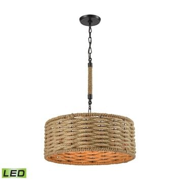 Weaverton 3-Light Chandelier in Oiled Bronze with Natural Rope-wrapped Shade - Includes LED Bulbs
