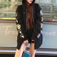 """""""OFF-WHITE"""" Women Fashion Casual Back Print Badge Embroidery Zip Cardigan Long Sleeve Hooded Sweater Coat"""