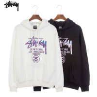 Stussy long-sleeved lovers and lovers' hoodies with round collar and cotton loose winter students' hooded hoodies