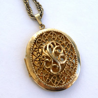 Vintage Locket Necklace by Sarah Coventry Gold Tone