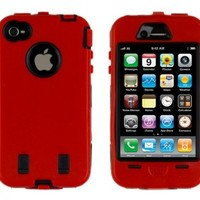 Generic MC0001 Cell Phone Case for iPhone 4 - Non-Retail Packaging - Red & Black