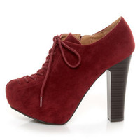 Qupid Theron 03 Garnet Suede Lace-Up Ankle Booties - $41.00