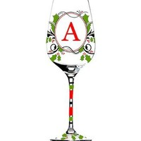 Hand-Painted Monogrammed Holiday Wine Glass with Red and Green Holly in Letter T