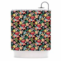 "DLKG Design ""Flower Power"" Gold Black Shower Curtain - Outlet Item"
