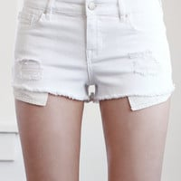 Bullhead Denim Co. White Ripped Low Rise Cutoff Denim Shorts at PacSun.com
