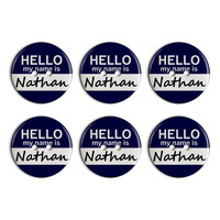 Nathan Hello My Name Is Plastic Resin Button Set of 6