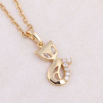 Gold Plated Fox Crystal Pendant Necklace