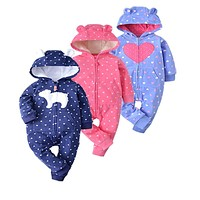 2018 spring autumn soft microfleece Baby Christmas Costumes 12-24M Baby Boy Clothes lovely style Baby Rompers  clothing for kids
