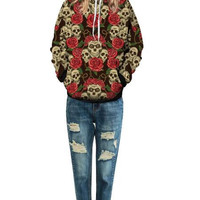 Rose Skull Print Hooded Sweater 13246