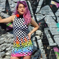 Personality Fashion Multicolor Flame Checkerboard Print Bodycon Turtleneck Sleeveless Mini Dress-1