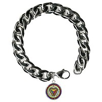 """Solomons 7th Saturn Make Others Tremble At Your Words Steel 9"""" Mens Bracelet 12mm Thick Curb Chain"""
