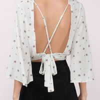White Wrap Floral Print Cross Back Wide Sleeve Top