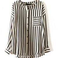 Vintage Stripe Chiffon Blouse with Pocket Front