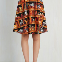 Cats Mid-length A-line Fun for the Books Skirt