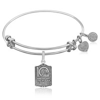 Expandable Bangle in White Tone Brass with 10th Anniversary Wizard of Oz Symbol