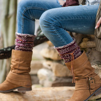Tahoe Tassel Boho Boot Socks Beige / Burgundy Slouch Top Over The Knee Thick Waffle Knit Camel Vegan Leather Tassles