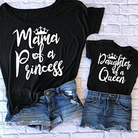 Matching Mother Daughter Shirts Letter Print Matching Tees