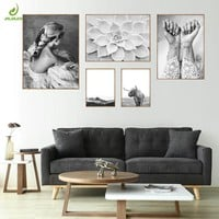JHLJIAJUN Nordic Canvas Painting Flower Beauty Women Black And White Paintings For Living Room Wall Art Posters Home Room Decor