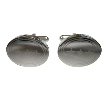 Silver Toned Etched Oval 3 Stars Cufflinks