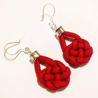 Imperial red paracord celtic heart knot  dangle earrings, unique women and girl's paracord dangle earrings