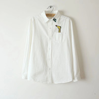 White Giraffe leaves Embroidered Long-Sleeve Button Collar Shirt