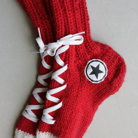 Hand Knit socks, Warm Red Winter Wear, Hipster Clothing, Christmas Gift