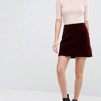 New Look Quilted Velvet A-Line Mini Skirt at asos.com