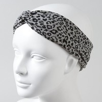 Black and Gray Leopard Fabric Headwrap – Claire's